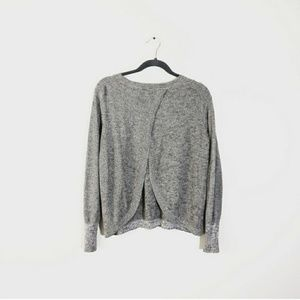 NATURAL LIFE Open Back Crew Neck Sweater Grey